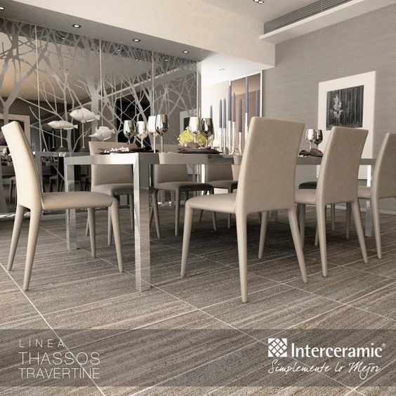 Travertine ceramic floor tiles and silver on pinterest - Decorar pared comedor ...