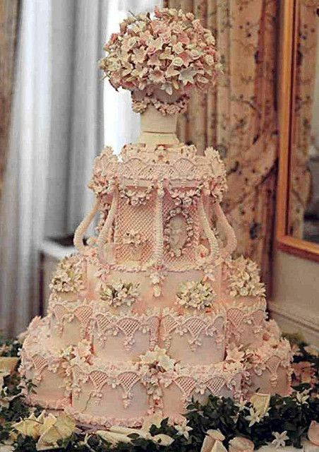 "amazing ""ice pink"" wedding cake by the renowned Cile Bellefleur Burbidge -- orange blossom flavor."