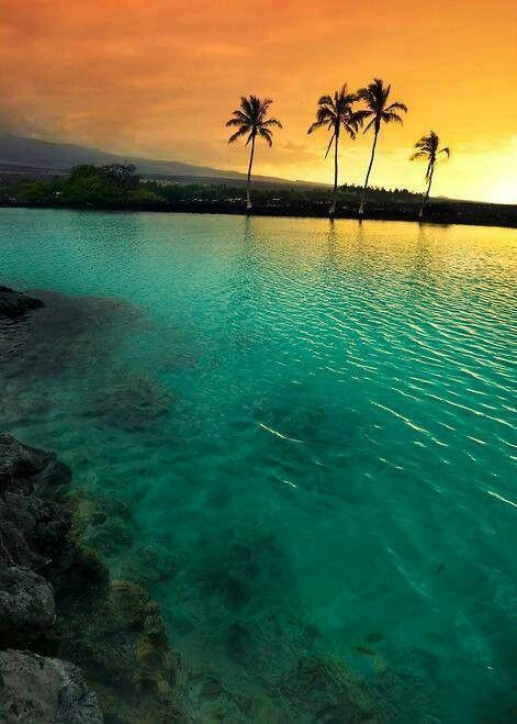 ハワイの夕日とグリーンの海