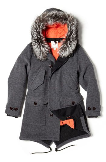 Todd Snyder Genuine Fox Fur Trim Wool Coat | Nordstrom