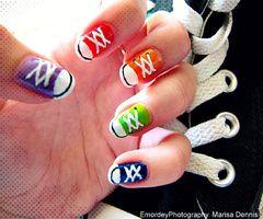 a colourful alternative to the previous converse nail art