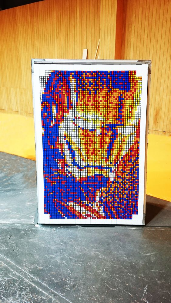 Iron Man Mosaic for Design Your Cube at Kidexpo by the Cubeart Brothers #DYC #Designyourcube #Rubik #Art