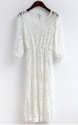 $13.43 Scoop Neck Openwork Lace Back Jag Half Sleeves Waisted Women's Dress