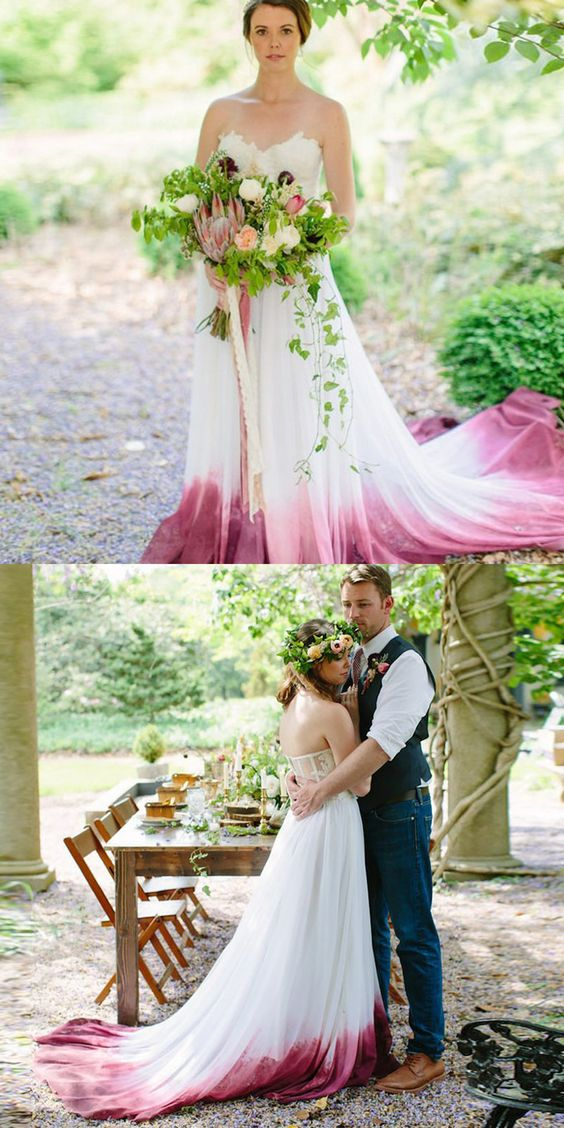 A-Line Sweetheart Court Train Ombre Chiffon Wedding Dress with Appliques