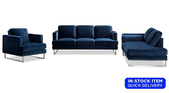 Sapphire Blue Sofa Chaise Chair Set In 2020 Blue Sofa Chaise Chair Blue Living Room Sets