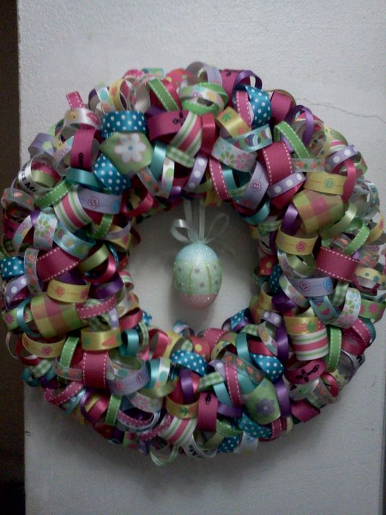 Easter Ribbon Wreath: Wreath Making, Easter Ribbon, Diy Wreaths, Wreath Hobby, Ribbon Wreaths, Crafts Diy, Craft Ideas