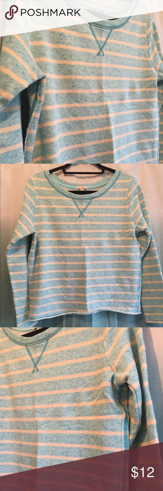💕EUC GAP cropped striped Aqua/ cream sweatshirt This in EUC....no flaws noted!!!!  It looks like its brand new! The edges are a bit raw and will roll as they are supposed to!!! I do think it runs on the smaller size of medium.  Offers welcome!!! GAP Tops Sweatshirts & Hoodies