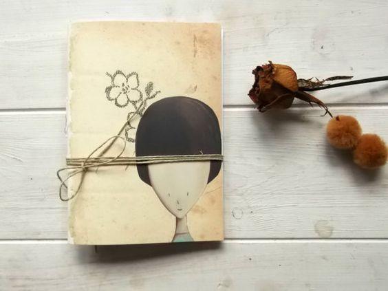 romantic girl pocket journal blank notebook   hand  by vumap