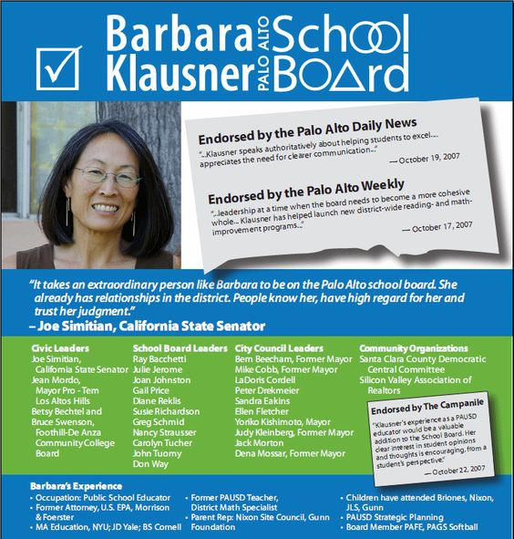 Barbara Klausner For School Board  Welcome  Direct Mail Flyers