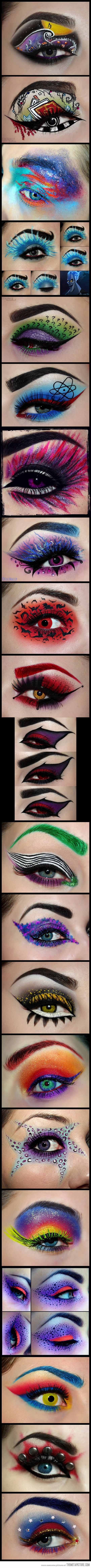 Movie makeup at it's most unique…fun ideas different cosplays, I can see how some of these would be incredible for steampunk but I have no idea how you'd actually do them!