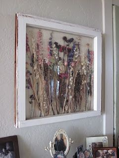 After the wedding, press my bouquet and make art in an old window pane