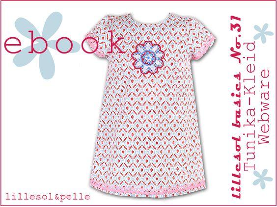 Ebook Schnittmuster Tunika Kleid aus Baumwolle mit Puffärmeln oder Halbarm A-Form