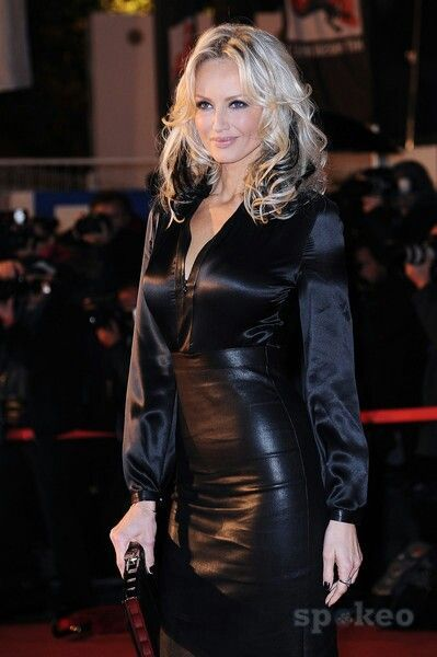 black leather skirt and black satin blouse stuff