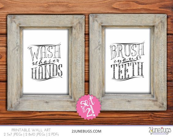 "Printable bathroom wall art set by 2 june bugs: ""Brush those Teeth"" and ""Wash those Hands"""