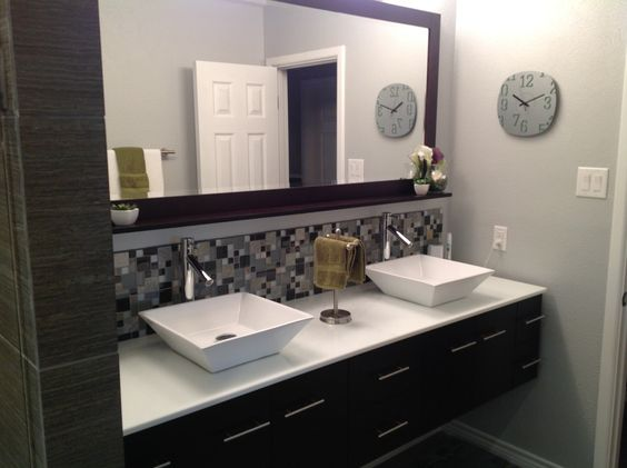 Modern Master Bathroom With Corian Counters Drop In: Contemporary Master Bathroom With Vessel Sink, Daltile