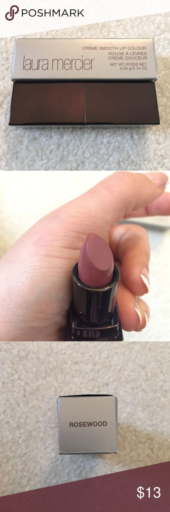Laura Mercier Lipstick Rosewood Laura Mercier lipstick in Rosewood. Swatched twice. Box included. Laura Mercier Makeup Lipstick