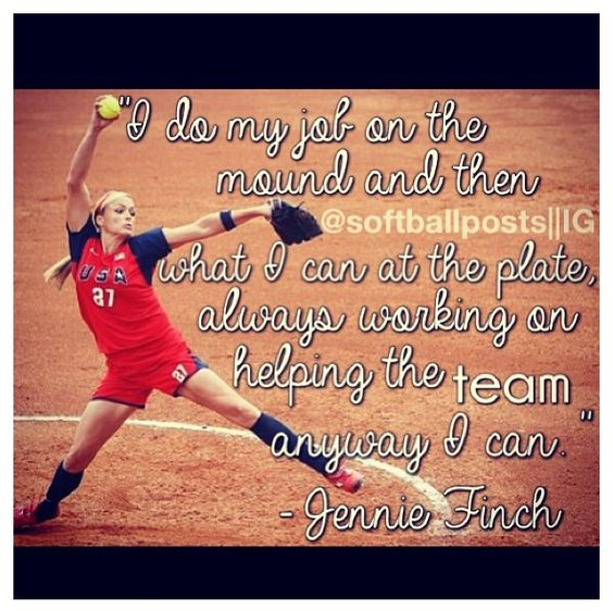 Kenzies favorite person and she wants to be just as good as Jennie finch