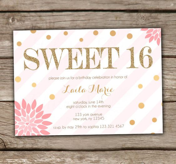 Blush Glitter Sweet Sixteen Invitations - DIY, Printable, Gold, Floral, Chalkboard, 16, Teen, Birthday, Mint, Sparkly, Pink