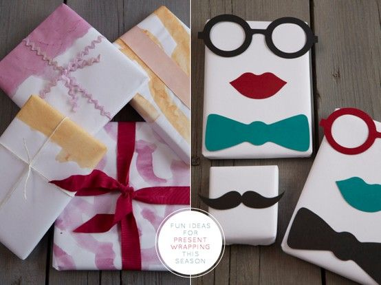 fun gift wrapping ideas using scraps of...everything! fabric, felt, paper, leather, yarn...
