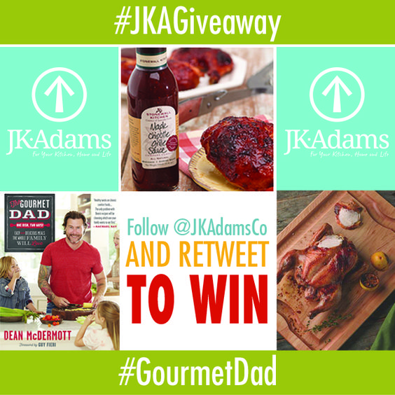 Enter to win Dean McDermott's new Gourmet Dad cookbook, a J.K. Adams BBQ Cutting Board and grilling sauce from Stonewall Kitchen. #GourmetDad #Summer #recipes #BBQ #JKAGiveaway