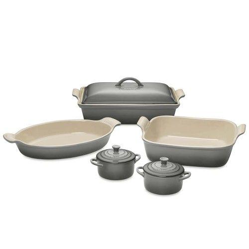 Le Creuset Stoneware 8 Piece Bakeware Set French Grey Williams