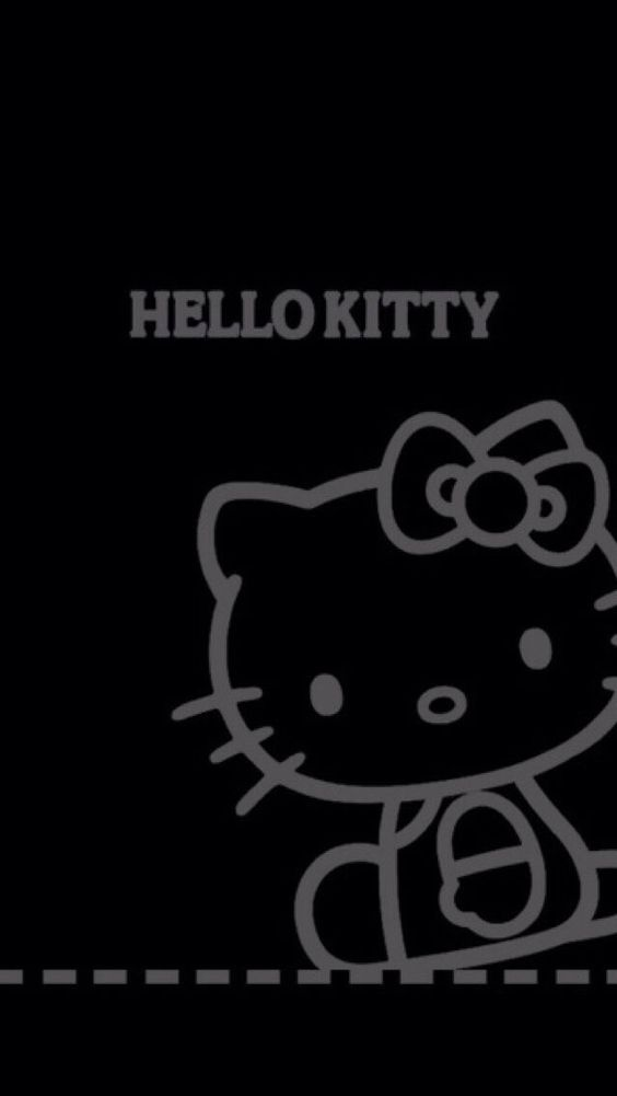 Black backgrounds, We heart it and Hello kitty on Pinterest