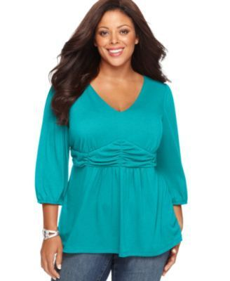 Ny Collection Plus Size Three-Quarter-Sleeve Ruched Empire-Waist Top