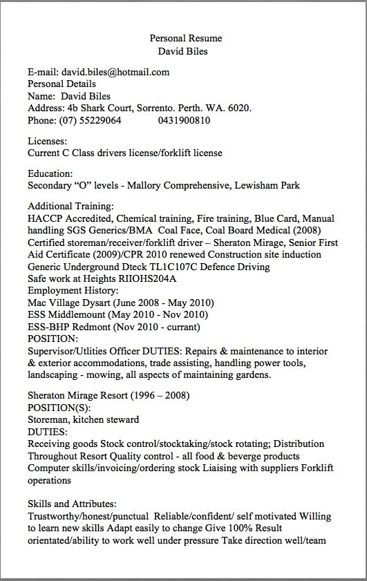 Storeman Resume Examples Personal Resume David Biles E-mail david - examples of warehouse resume