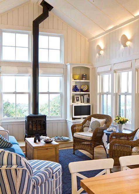 Blue and White Coastal Nautical Living Room