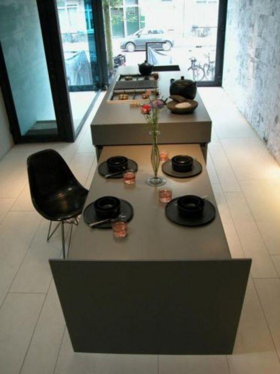 Meer dan 1000 idee n over kookeiland tafel op pinterest eiland tafel kookeilanden en keukens - Tafel design keuken ...