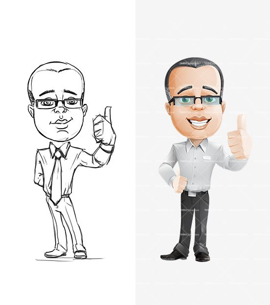 Cartoon Characters Facing Forward : Businessman cartoon character with rounded face