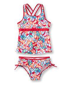 #LLBean: Girls' Tide Surfer Swimsuit, Two-Piece Print