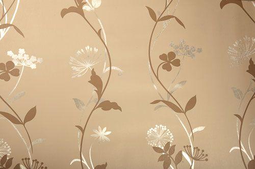 Tapete metallic Metallfolie auf Papier Blumen Blüten Ranken silber weiß beige braun online kaufen