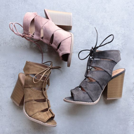 summer nights cut out laced up block heel sandals (more colors) - shophearts - 1