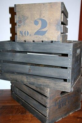 """DIY """"vintage"""" crates tutorial. Inexpensive crates--found at any craft store--stained and embelished."""