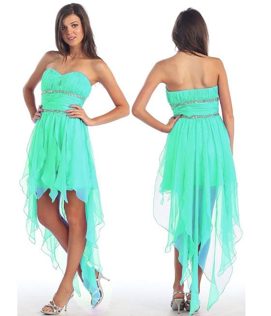 mint green high low formal prom dresses for junior prom homecoming ...