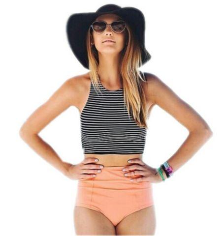 Bikini Set Women Sport Striped Top + High Waisted Padded Bikini