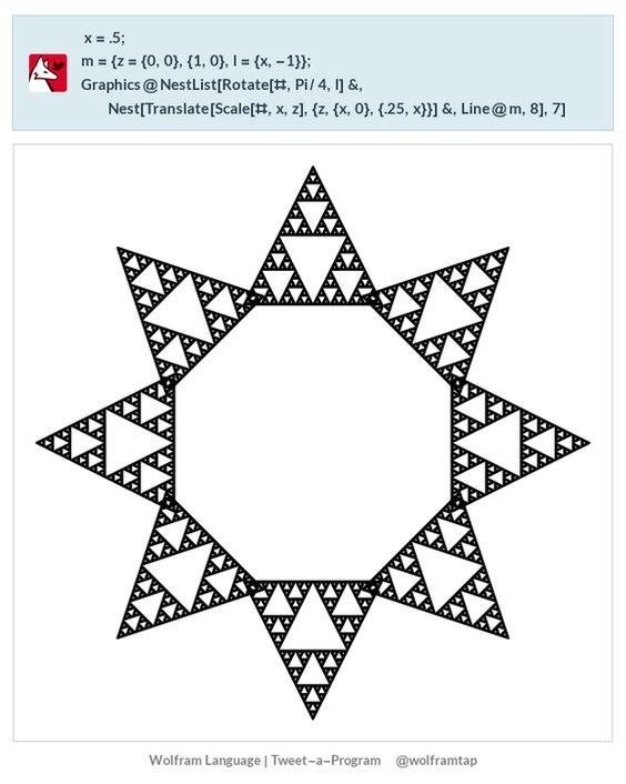 x = .5; m = {z = {0, 0}, {1, 0}, l = {x, -1}}; Graphics@  NestList[Rotate[#, Pi/4, l] &,    Nest[Translate[Scale[#, x, z], {z, {x, 0}, {.25, x}}] &, Line@m, 8],    7]
