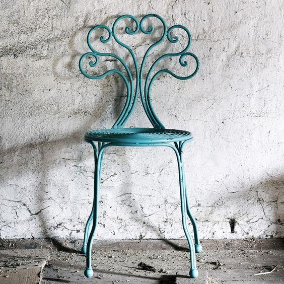 Silla Festival Turquesa   Silla de hierro forjado y pintado en color turquesa....