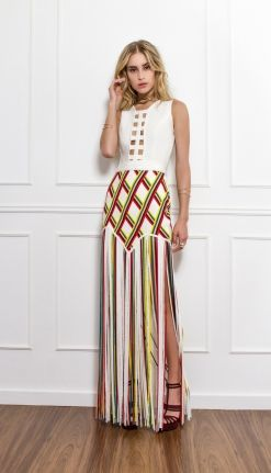 SAIA TIRAS DE TRICOT COM LISTRAS COLORIDAS - SA16559 | Skazi, Moda feminina, roupa casual, vestidos, saias, mulher moderna