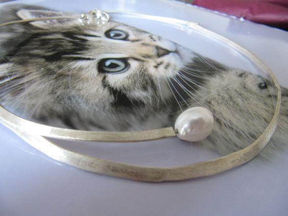 zilveren collier met freshwaterpearl  www.bormsjuwelen.be