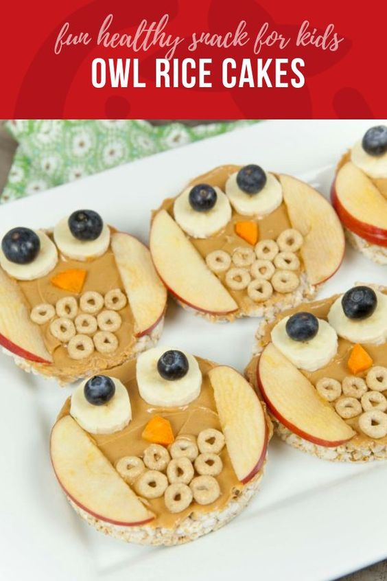 Owl Rice Cakes | Fun Food for Kids When craft time can double as snack time not only can kids express their creativity, but they get excited about eating what they made.  That's one reason we love this owl snack.   One of the first blog posts I ever wrote included an owl snack, 8 years ago!  It's so funny, that I still think owls are fun to make.  But how can you not craft owls, when they are so simple and so cute!