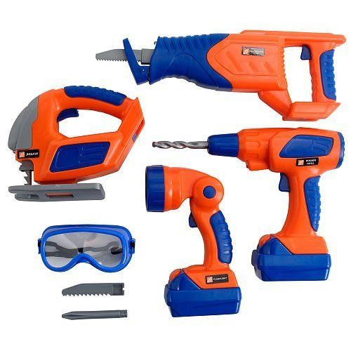 The Home Depot Deluxe Power Tool Set (Toy) by Toys R Us, http://www.amazon.com/gp/product/B0045K0QZ0/ref=cm_sw_r_pi_alp_momZqb1KYPTV6