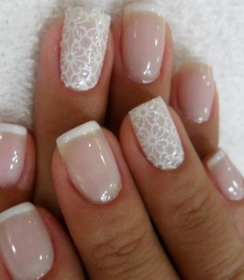 A vintage manicure french manicure with 2 beautiful vintage nail designs