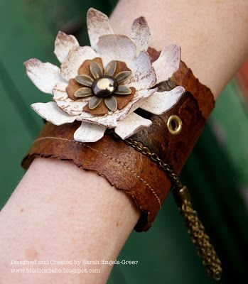 steampunk flower cuff - maybe add a cluster of gears in center? La-De-Dah: Flowers with Attitude at Simon Says...