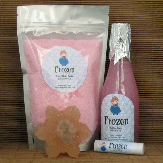 Frozen Anna Gift Set - Bath Salt, Soap, Lip Balm and Bubble Bath by CherryPitCrafts on Etsy