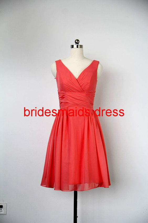 Deep Vneck  Bridesmaid Dress Aline V neck knee by bridesmaidsdress, $85.00