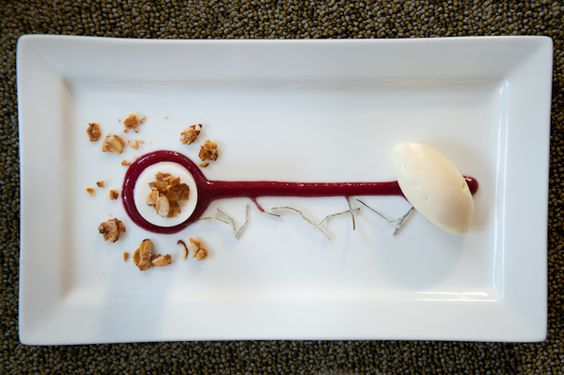 , Calamansi-Cherry Coulis, Almond Ice Cream, and Candied Kaffir Lime ...