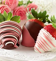 pink chocolate dipped strawberries: cute idea for a girl baby shower and if its a boy just change the colors: