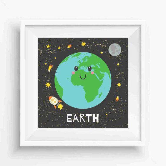 "Cute Earth ,Earth Prints,Planet Earth Art Print,Nursery Decor,Kids decor print,Digital Prints,Wall Printable,instant download,8""x 8""Inches"